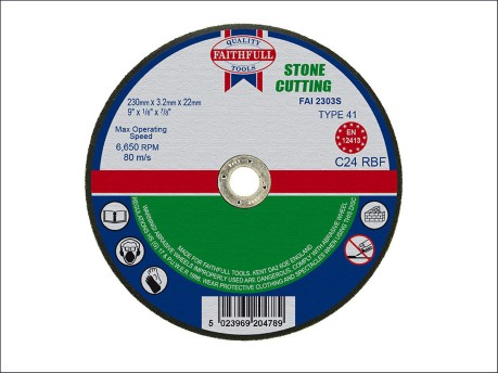 230 x 3.2 x 22mm Cut Off Disc for Stone