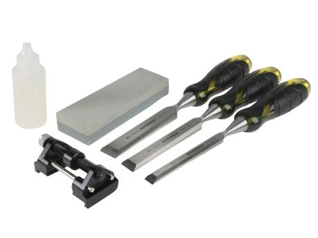 Bevel Edge Chisel Set of 3 & Sharpening Kit 13, 19 & 25mm