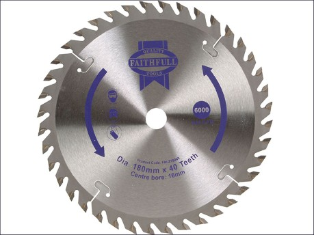 Circular Saw Blade 180 x 16mm x 40T Fine Cross Cut