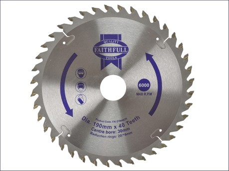 Circular Saw Blade 190 x 16/20/30mm x 40T