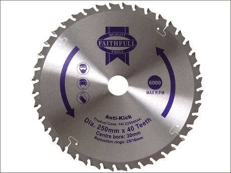 Circular Saw Blade 250 x 30mm x 40T Anti Kick