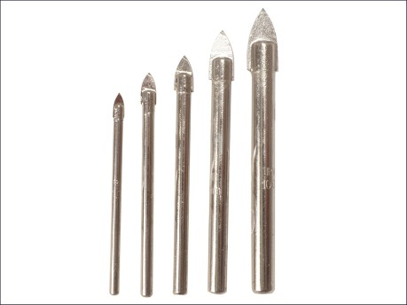 Glass & Tile Drill Bit Set of 5: 4, 5, 6, 8 & 10mm