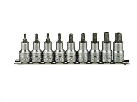 Socket Clip Rail Set of 9 Internal Torx 1/2in Drive