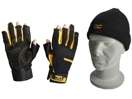 Fingerless Work Gloves & Beanie Hat