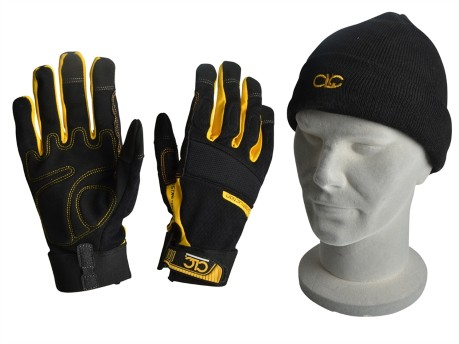 Flexible Work Gloves & Beanie Hat